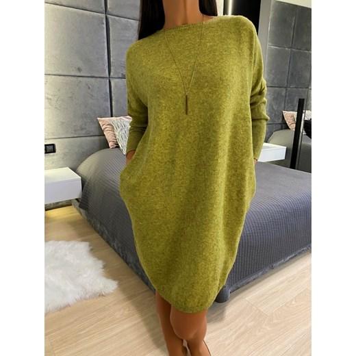 Sweter damski Modnakiecka z okrągłym dekoltem Odzież Damska EO zielony VUGI