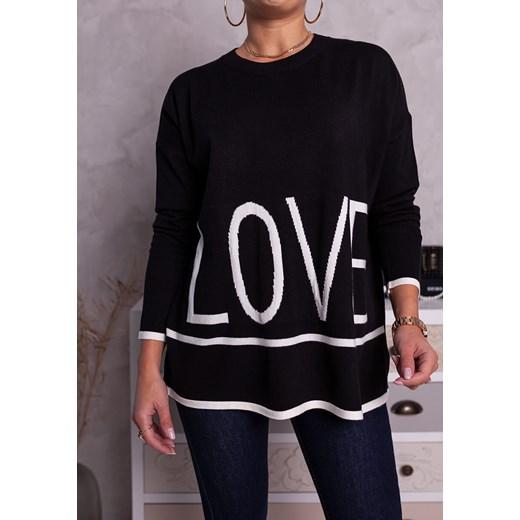 Sweter damski Moda Doris z okrągłym dekoltem Odzież Damska OU czarny HDJA