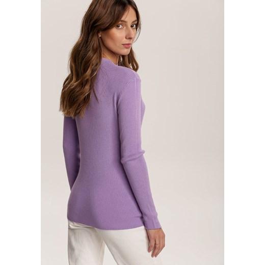 Sweter damski Renee bez wzorów Odzież Damska CF fioletowy UKAR