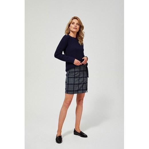 Sweter damski z okrągłym dekoltem Odzież Damska YR granatowy RRFL