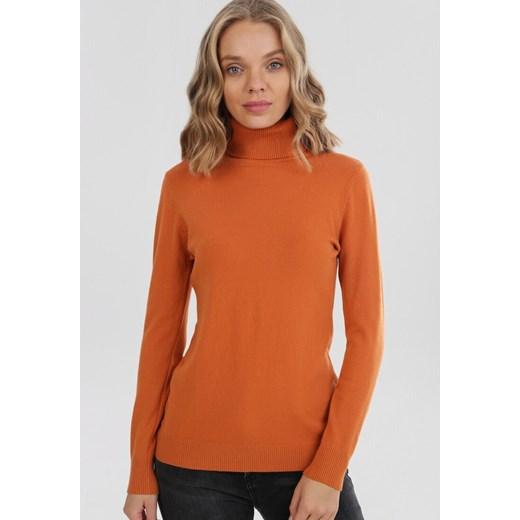 Sweter damski pomarańczowa Born2be Odzież Damska ZE pomarańczowy BUSP