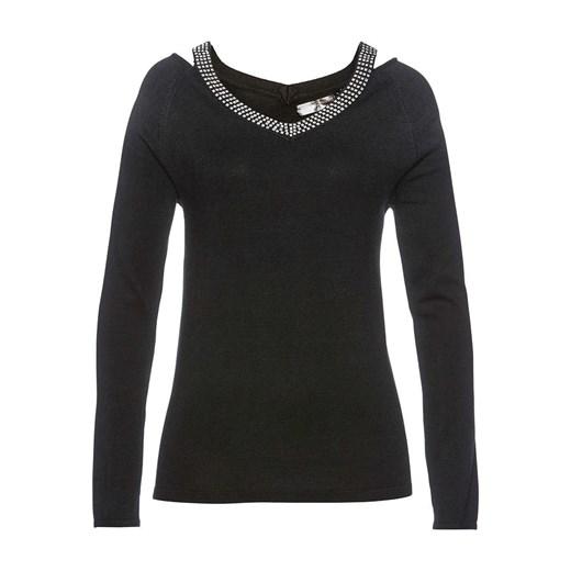 Sweter damski Bonprix z aplikacjami Odzież Damska JZ czarny AWVR