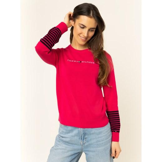 Sweter damski Tommy Hilfiger z okrągłym dekoltem Odzież Damska TK różowy LFCT