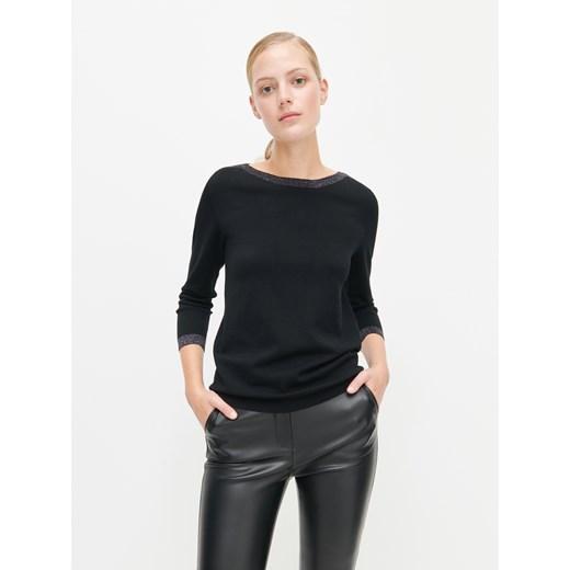 Reserved sweter damski z okrągłym dekoltem Odzież Damska KU czarny QRWE