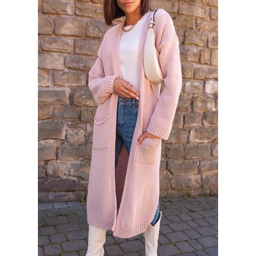 Sweter damski Latika z dekoltem v z wełny Odzież Damska TB różowy IIFW