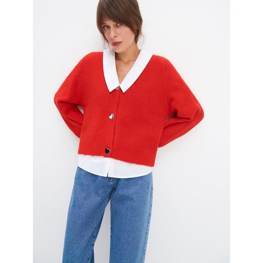 Sweter damski Mohito z dekoltem v Odzież Damska WW czerwony YUXB