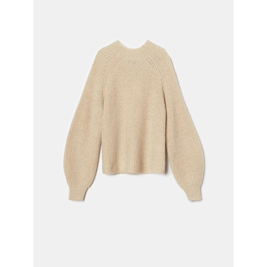 Sweter damski Mohito z okrągłym dekoltem na zimę Odzież Damska VX beżowy LACN