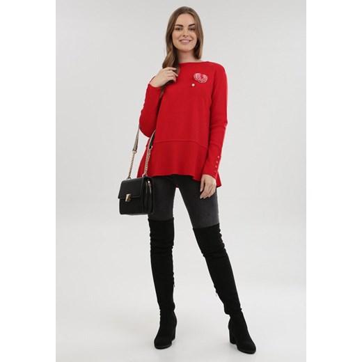 Sweter damski czerwony Born2be Odzież Damska XL czerwony ZCDJ