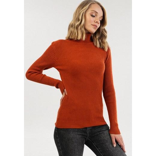 Sweter damski Born2be bez wzorów Odzież Damska BO czerwony MDSN