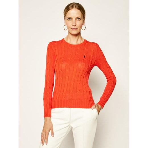 Sweter damski Polo Ralph Lauren czerwony bez wzorów z okrągłym dekoltem Odzież Damska VZ LNSI