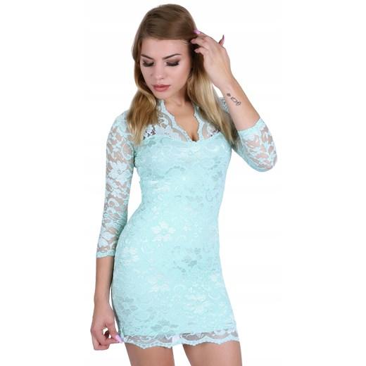Sukienka z długim rękawem mini Odzież Damska ZY miętowy PGRE