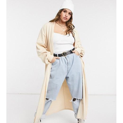 Sweter damski Skylar Rose Plus casual z dekoltem w serek Odzież Damska LU beżowy AGEW