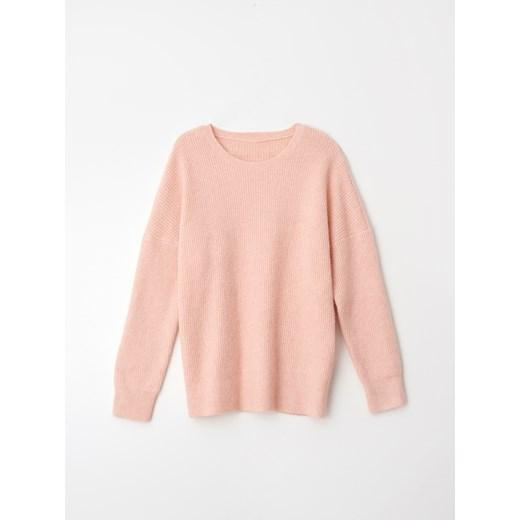 Sweter damski Mohito z okrągłym dekoltem bez wzorów Odzież Damska JE różowy JJLX