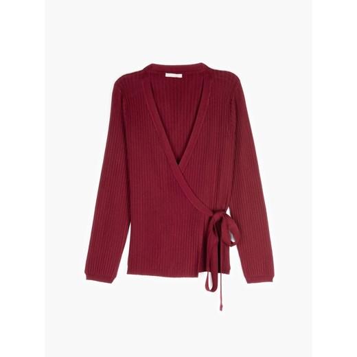 Czerwony sweter damski Gate z dekoltem w literę v bez wzorów Odzież Damska YJ czerwony URME