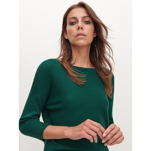 Sweter damski Reserved z okrągłym dekoltem Odzież Damska ZO zielony VJQF
