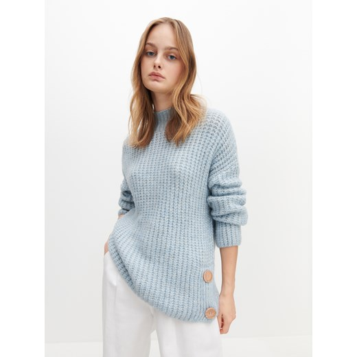 Sweter damski Reserved niebieski z okrągłym dekoltem Odzież Damska DA niebieski QJRC