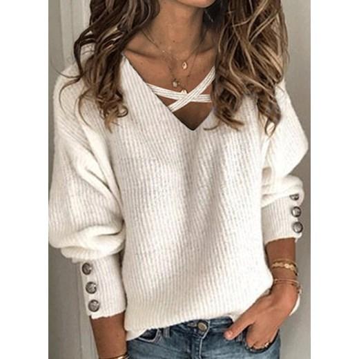 Sweter damski Sandbella biały w serek Odzież Damska HZ PJCT