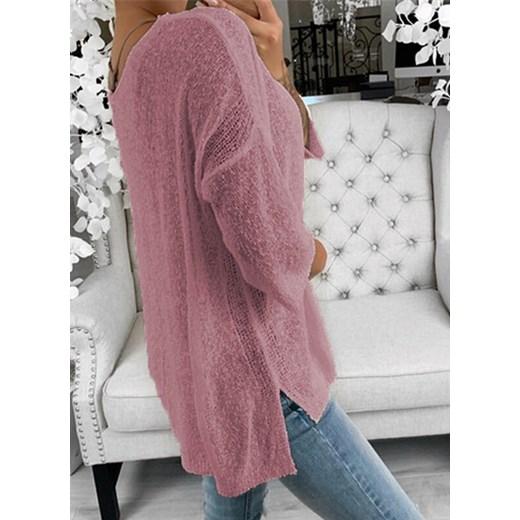 Sweter damski Sandbella z dekoltem w serek Odzież Damska RS różowy WORF