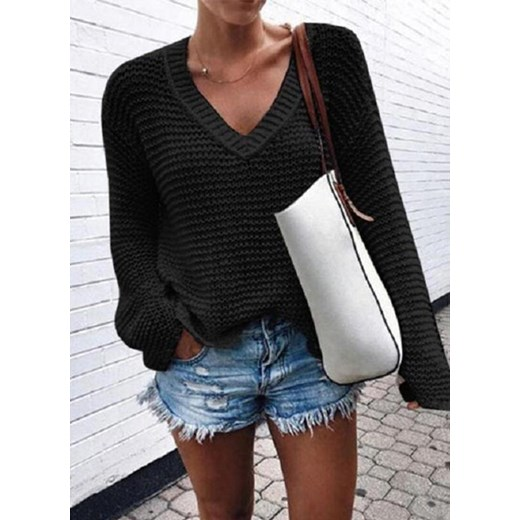 Sweter damski Sandbella w serek Odzież Damska VQ czarny JPCQ