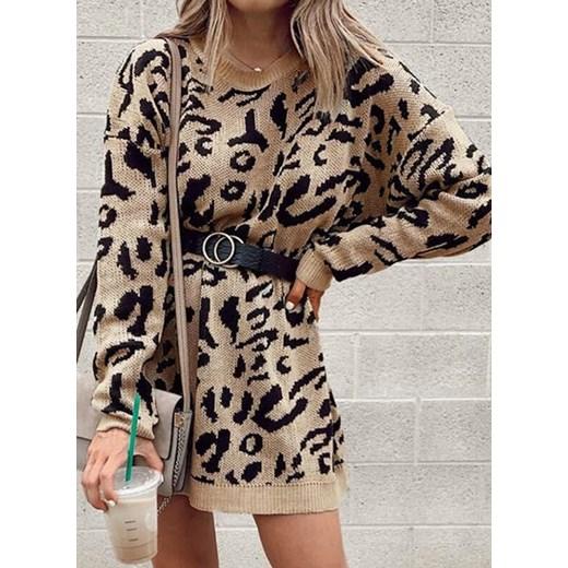 Sweter damski Sandbella w zwierzęcy wzór Odzież Damska DM CVOH