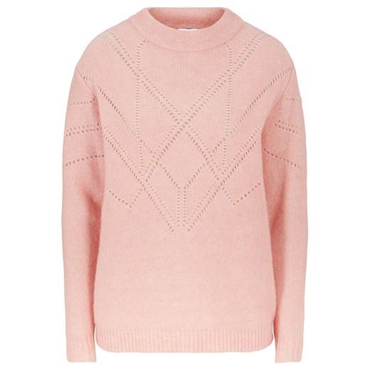 Sweter damski Bonprix z okrągłym dekoltem casual Odzież Damska AJ różowy DYQE
