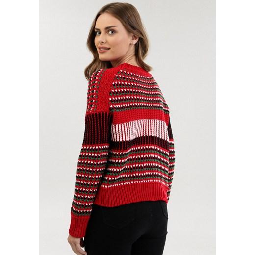 Sweter damski Born2be z okrągłym dekoltem Odzież Damska BW czerwony AAQH
