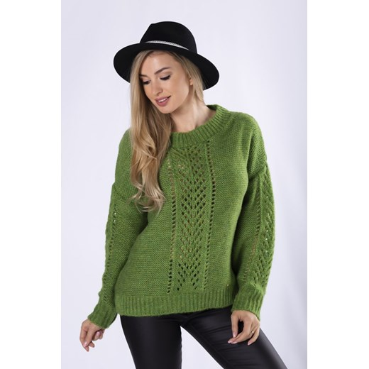 Sweter z ażurowymi wstawkami Candivia 2020 Odzież Damska RO zielony RLHN