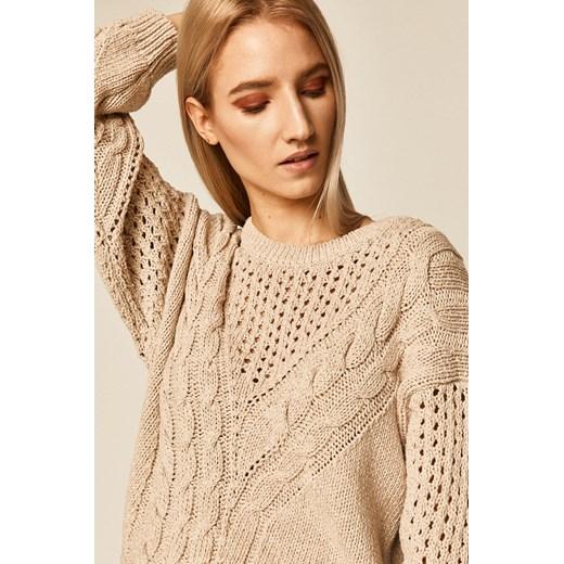 Sweter damski z warkoczowym splotem beżowy Medicine okazyjna cena wearmedicine Odzież Damska JI beżowy LMKH