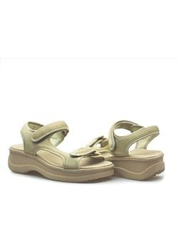 Beżowe sandały damskie zara na platformie rzepy, wiosna 2020
