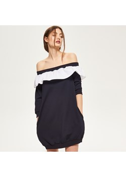 Reserved - Bluza cold shoulder - Granatowy