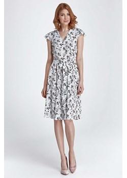Prosta sukienka za kolano z paskiem w delikatny deseń wzór 3