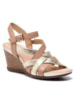 Sandały damskie Geox brązowe skórzane bez wzorów na koturnie