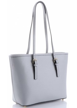 Shopper bag szara Genuine Leather casual skórzana