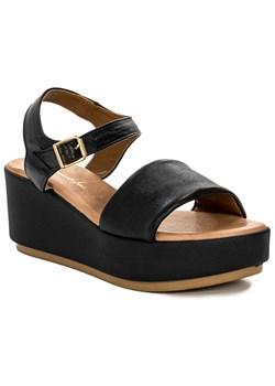 Sandały damskie Maciejka czarne gładkie z klamrą na obcasie