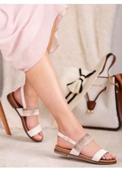 plaskie sandały rozowe z biala podeszwajenny fairy