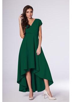 Zielona Klasyczna Prosta Sukienka z Asymetrycznym Rozporkiem Nommo Coco fashion.pl