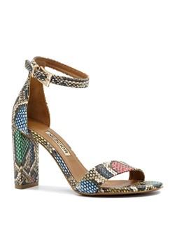 Kolorowe skórzane sandały damskie na obcasie
