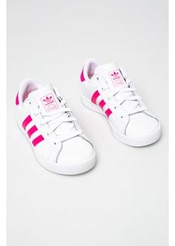 Trampki dziecięce białe Adidas Originals w nadruki skórzane