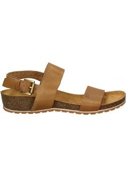 Sandały damskie brązowe Big Star skórzane płaskie bez wzorów