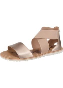 Sorel sandały damskie złote skórzane bez zapięcia płaskie na płaskiej podeszwie bez wzorów