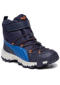 Buty zimowe dziecięce niebieskie Puma na rzepy bez wzorów śniegowce