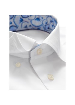 Biała koszula z niebieskimi kontrastami krótki rękaw 885  ffwR9