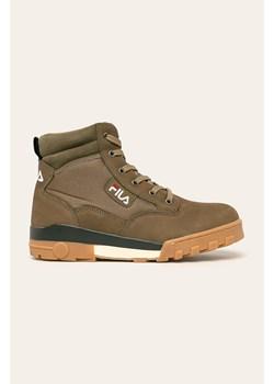 Brązowe buty zimowe męskie Fila skórzane