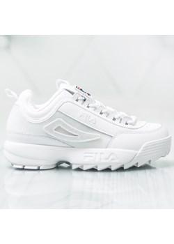 Fila buty sportowe damskie sznurowane białe na płaskiej