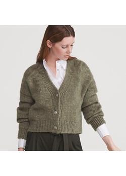 Sweter rozpinany z dekoltem w serek Swetry damskie