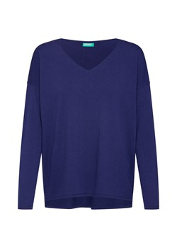 Sweter damski United Colors Of Benetton niebieski z dekoltem v