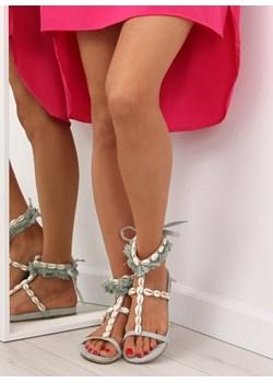 Sandały damskie zielone Buty Butymodne casual bez obcasa ze skóry ekologicznej na płaskiej podeszwie