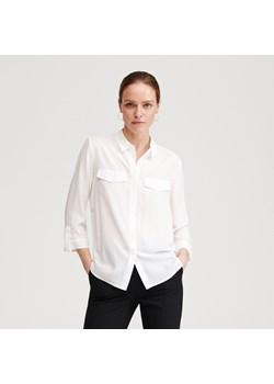 Koszula damska, jasny beż, zdobione rękawy i kołnierzyk
