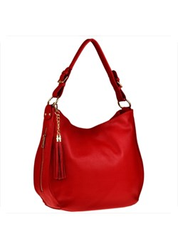 Shopper bag czerwona Real Leather duża glamour