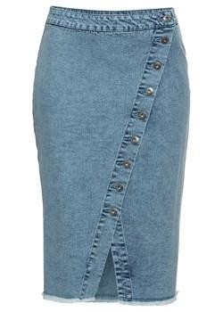 spódnica midi guziki gumka w pasie jeans dżins XL